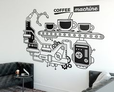 The Coffee Machine Office Wall Decor is ideal for quickly and easily transform any office workspace. Coffee Area, Coffee Lab, Office Ceiling, Office Walls, Vinyl Wall Art, Vinyl Decals, Wings Restaurant, Creative Office Decor, Office Wall Decals
