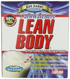 Labrada Nutrition Carb Watchers Lean Body Hi-Protein Meal Replacement Shake, Vanilla Ice Cream, 2.29-Ounce Packets...