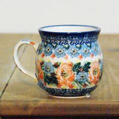 Polish mug in unique decoration for those who like orange color