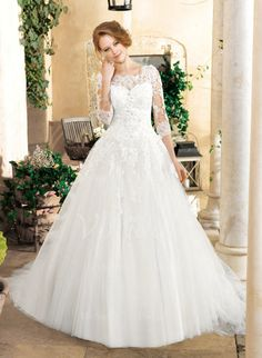 Wedding Dresses - $237.30 - Ball-Gown Scoop Neck Chapel Train Tulle Wedding Dress With Beading Appliques Lace (0025060284)