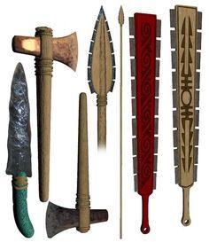 Aztec/Mexica (modern depiction of various weapons, some of them obsidian-edged) Ancient Aztecs, Ancient Civilizations, Aztec Weapons, Cultures Du Monde, Aztec Empire, Aztec Culture, Inka, Aztec Warrior, Aztec Art