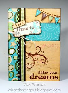 card by Vicki Wizniuk using CTMH Footloose paper great idea for a tag as well Scrapbook Paper Crafts, Scrapbook Cards, Scrapbooking Ideas, Paper Crafting, Card Making Inspiration, Making Ideas, Mini Albums, Making Greeting Cards, Beautiful Handmade Cards