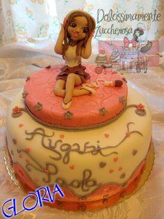 Torta Violetta in pasta di zucchero cake