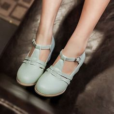 Korean Womens Cute Vintage Ankle Strap Summer Sandals Pumps Shoes Kitten Heels