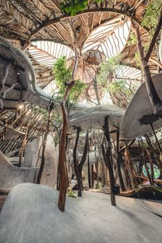 A Fantastical Art School Is Opening In A Jungle Outside Tulum - If You Drive Around Minutes Inland From Tulums Beachside Resorts Youre Likely To Spy Otherworldly Treehouses Peeking Out From The Lush Quintana Roo Jungle These Wondrous Structures B Earthship, Organic Architecture, Beautiful Architecture, Interior Architecture, Pavilion Architecture, Architecture Organique, Bamboo House, Natural Building, Space Gallery
