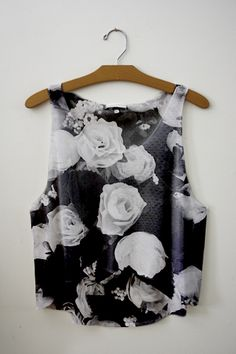 .black and white floral