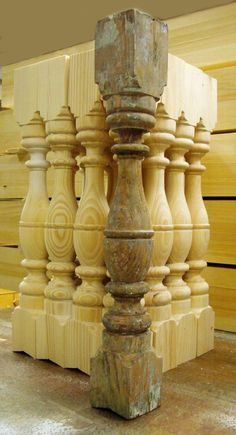 Duplicating wood spindles from the original. Candlestick Holders, Candlesticks, Porch Balusters, Railings, Carving Designs, Wood Lathe, Traditional Furniture, Table Legs, Farmhouse Table