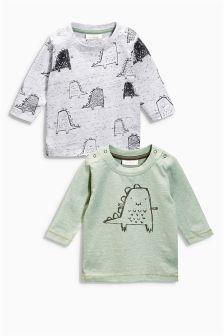T-Shirts mit Dinomotiv, Zweierpack (0–18 Monate)