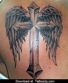 Fallen angel tattoo, cover tattoo, cross with wings tattoo, cross tattoo for men Cross With Wings Tattoo, Black Cross Tattoos, Cross Tattoo For Men, Cross Tattoo Designs, Tattoo Designs Men, Cross Designs, Pretty Cross Tattoo, Dad Tattoos, Girl Tattoos