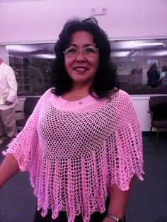 Sister wearing  one of my handmade shawls.