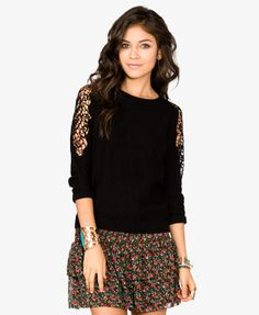 Crotchet Cutout Sleeve Sweater | FOREVER 21 - 2031557008
