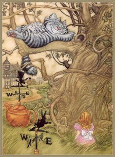 Alice and Cheshire cat. Angel Dominguez