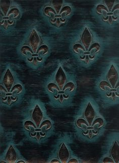 Deep Ocean Blue with Antique Bronze represented in the picture from the Fleur De Lis Collection at Barbarossa Leather. Leather Fabric, Royalty, Lily, Bronze, Ocean, Deep, Space, Elegant, Antiques