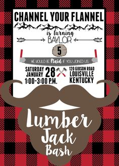 Lumber Jack Birthday Party Invitation by NOLALOULOU on Etsy