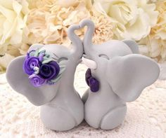 Wedding Cake Topper Elephants in LoveGray and Shades of