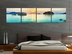 Inspiração de quadro feito com foto panorâmica para quartos de casais! Fica lindo também com fotos de cidades à noite. Criativo e fácil de fazer.  www.designtendencia.com