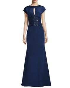 Sequin-Detailed Open-Back Gown, Navy by Rene Ruiz at Neiman Marcus Last Call.