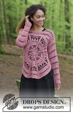 Flowering Heart / DROPS - Free Crochet Patterns by DROPS Design : Crochet sweater with octagonal granny square and lace pattern. Size S – XXXL. The work is crocheted in DROPS Puna. Pull Crochet, Crochet Jumper, Crochet Blouse, Crochet Lace, Free Crochet, Crochet Style, Knit Cowl, Crochet Granny, Hand Crochet