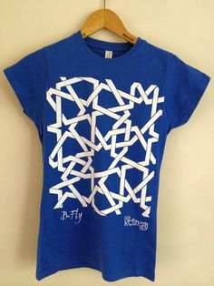 One of the t-shirts in our new range. This one shows a detail from a compsition in the Bou Inania madrasa in Fes, Morocco Islamic geometric design