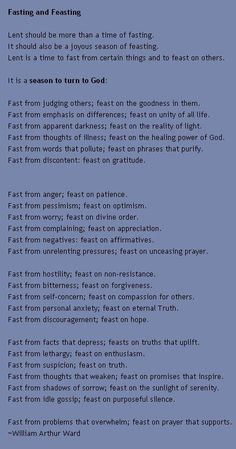 Fasting and Feasting ..... I am fasting periodically now and this is a great reminder.: