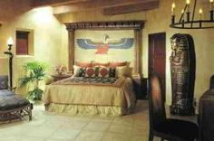 Looking for Ancient Egyptian Bedroom Ideas? Find Egyptian home decor like Egyptian god statutes, Egyptian furniture and bedding. Egyptian Furniture, Egyptian Home Decor, Bedroom Themes, Bedroom Decor, Bedroom Ideas, Home Interior Design, Interior Decorating, Decorating Ideas, Decor Ideas