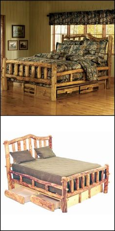 Do you need more storage in your bedroom, but lack the floor space for cabinets? Then these log bed with under dresser might be for you! We've put together a collection of space efficient storage beds for you here http://theownerbuildernetwork.co/cjic This one is definitely more our style. What about you?