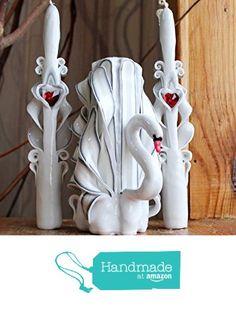 "Set of carved candles handmade ""White swan"" - wedding decor - wedding centerpiece - wedding swan from Royal Candles https://www.amazon.com/dp/B01DO60UJC/ref=hnd_sw_r_pi_dp_IAlizbX4QSXPZ #handmadeatamazon"