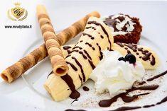 #gourmet #banana #cialda #cioccolato #muffin #panna #topping #miamibeach #italy #mrudyitaliaofficial #atelierdellefontanedicioccolato…