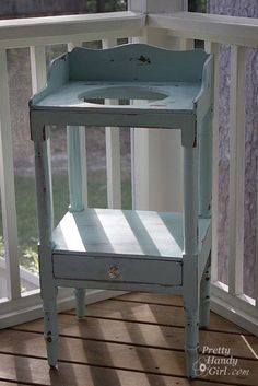 light blue --an old wash-stand