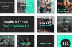 Health & Fitness Social Media Kit by TheSwissDesignCo. on @creativemarket