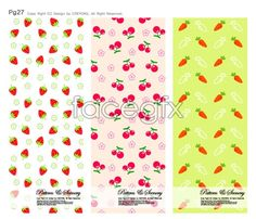Cute backgrounds vector Strawberry cherry carrot