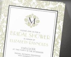 Ivory Monogram Damask Bridal Shower Invitation