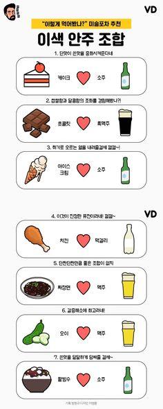 """""""색다른 맛의 세계"""" 이색 안주 조합 7 #food #cardnews Alcohol Drink Recipes, Learn Korean, Information Graphics, Food Plating, Alcoholic Drinks, Food And Drink, Cooking, Infographics, Kitchen"""