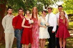 scarlet red bridesmaid dresses and short vintage bridal dress