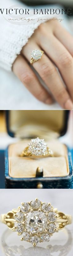 An amazing Vintage C  An amazing Vintage Cluster Engagement Ring from Victor Barboné Jewelry! This beauty centers an old mine cut diamond set in yellow gold with an intricate split shank!
