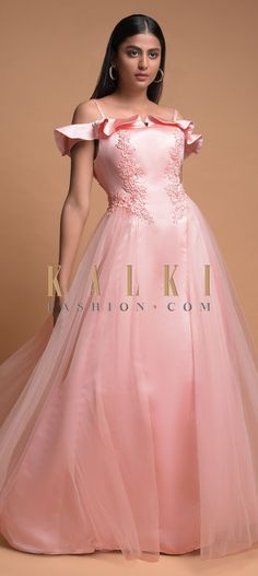 Buy Online from the link below. We ship worldwide (Free Shipping over US$100)  Click Anywhere to Tag Baby Pink Gown In Satin With Net Layer And Ruffle Cold Shoulder Sleeves Online - Kalki Fashion Baby pink gown in satin with net layer.Enhanced with thread, sequins and beads embroidered floral pattern on the bodice.