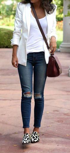 Blazer Blanco con blusa de algodón