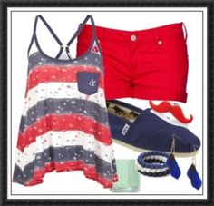 Red, white & blue. Shorts are too short, but oh! that mustache!!!!