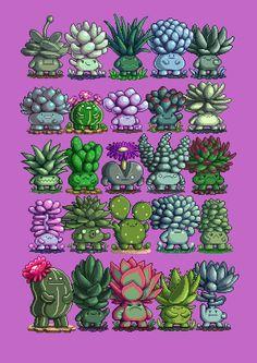 Succulent Boys, an art print by Paul Robertson Illustration Inspiration, Illustration Art, Game Design, Arte 8 Bits, Character Art, Character Design, Pixel Art Games, Creature Design, Cute Art