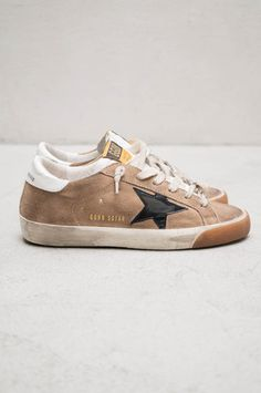 Golden Goose Black Star Ecru Suede Sneakers $520 shopheist.com