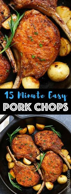 These Pan Fried Pork Chops are a scrumptious pork chop recipe thatll be on your dinner table in 15 minutes. They feature a mouthwatering golden crust with no marinating or breading required. Pan Fried Pork Chops, Baked Pork, Pork Loin Chops, Pork Chop Dinner, Pork Chop Recipes, Fried Porkchops Recipes, Marinated Pork, Golden Crust, Dinner Recipes