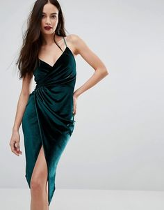 Boohoo | Boohoo Velvet Midi Wrap Dress