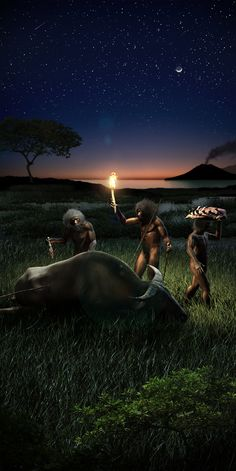 Homo erectus in Java, Indonesia million years ago by Rodolfo Nogueira Prehistoric World, Prehistoric Creatures, Human Evolution, Primitive Survival, Extinct Animals, Dinosaur Art, Animal Paintings, Archaeology, Paleolithic Period