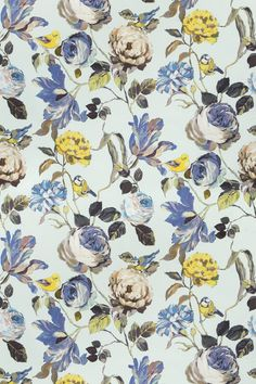 Country Garden Porcelain (8530/047) - Prestigious Fabrics - A bold, wide width floral trail with flamboyant flowers and cute garden birds. Shown here in blues, greens, browns and yellow on a pale blue background. Other colourways are available. Please request a sample for a true colour match.