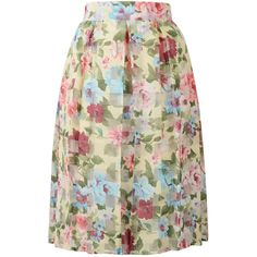 Choies Multicolor Floral High Waist Sheer Insert Flare Midi Skirt ($21) ❤ liked on Polyvore featuring skirts, multi, floral skirt, high waisted floral skirt, flared skirt, high-waist skirt and floral print midi skirt