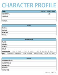 Character Basic Profile Worksheet A Free Downloadable Printable