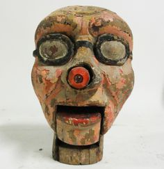 Antique Carved Carnival Puppet Head with adjustable mouth and flashlight for a nose.