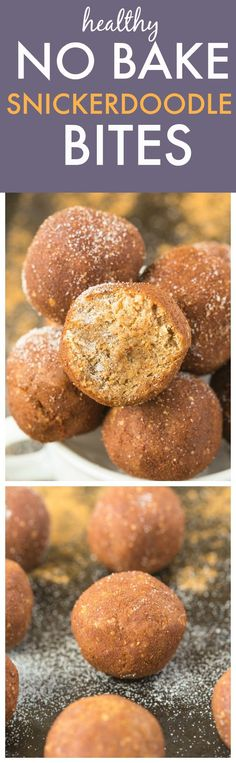Healthy NO BAKE Snickerdoodle Bites- Quick, Easy, Delicious and just like dessert- Made with NO butter, NO oil, NO grains, NO flour and sugar free! One bowl and ready in minutes! {vegan, gluten free, paleo recipe}- thebigmansworld.com