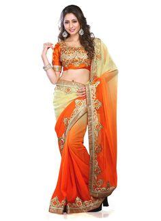 Beguiling Cream and Orange Zari Work Georgette Designer Saree