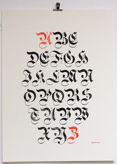 Poster typographique blackletter gothiques par ampersandenpress #blackletter #capitals #flourish